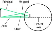 Fig. R2 Rays of light incident to the eye (E, centre of the entrance pupil of the eye)