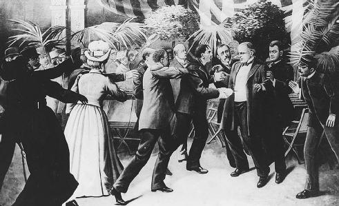 President William McKinley was shot by Leon F. Czolgosz, on September 6, 1901, at the Pan-American Exposition in Buffalo, New York. McKinley died on September 14. LIBRARY OF CONGRESS