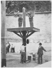 This 1907 photograph taken in a Delaware prison shows two inmates in a pillory with another receiving a whipping. Such forms of punishment have been outlawed. LIBRARY OF CONGRESS