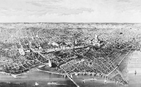An 1880 drawing of the District of Columbia by C.R. Parsons. Article 1, Section 8 of the U.S. Constitution grants Congress complete legislative authority over the district. LIBRARY OF CONGRESS