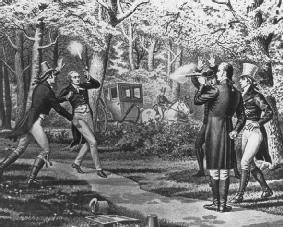 A depiction of the duel between Alexander Hamilton and Aaron Burr on July 11, 1804. Hamilton intentionally missed Burr, but Burr's shot wounded Hamilton, who died the next day. LIBRARY OF CONGRESS