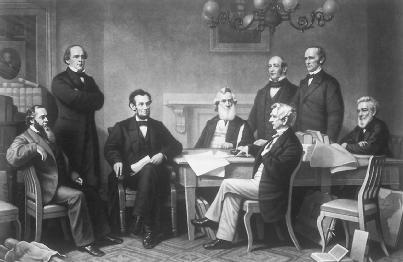 This engraving depicts the first reading of the Emancipation Proclamation before President Abraham Lincoln's cabinet in 1862. LIBRARY OF CONGRESS