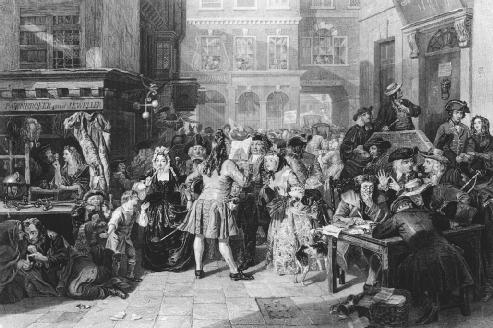 Anxious investors wait for news about the South Sea Company, a joint stock company formed in London in 1711. Joint stock companies are a form of partnership in which each member, or stockholder, is financially responsible for the acts of the company. LIBRARY OF CONGRESS