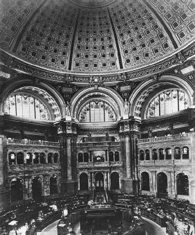 The Reading Room in the rotunda of the Library of Congress building, 1901. LIBRARY OF CONGRESS