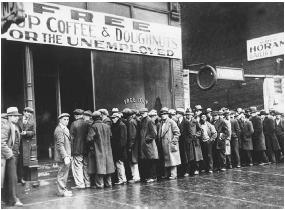 Unemployed men gather at a Chicago soup kitchen in February 1931. Roosevelt's New Deal was a response to the severe economic decline that engulfed the nation in the first years of the Great Depression. Two years after the September 1929 crash of the stock market 33 percent of the labor force was unemployed. NATIONAL ARCHIVES AND RECORDS ADMINISTRATION