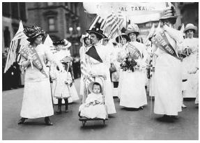 Suffragists march in a 1912 rally in New York City. In 1920, after decades of struggle for the right to vote, the Nineteenth Amendment's ratification granted female suffrage. LIBRARY OF CONGRESS