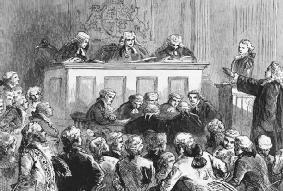 Andrew Hamilton (standing, arm extended) defends New York printer and journalist John Peter Zenger in his 1735 political trial on charges of seditious libel. LIBRARY OF CONGRESS