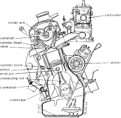 Automotive Engine on spark plug drawing