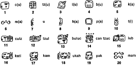 Some Maya syllabic symbols,