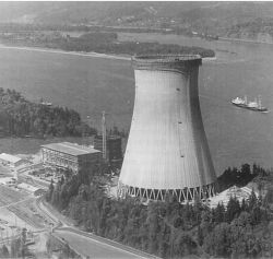 Counterflow natural-draft cooling tower at Trojan Power Plant in Spokane, Washington
