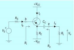 Schematic diagram of an emitter follower circuit