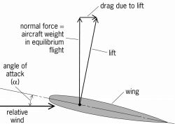 Wing lift and drag due to lift