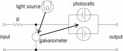 Simplified schematic of photocell galvanometer amplifier