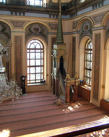 The prayer hall, or musalla, in a Turkish mosque, with a Minbar.