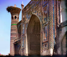 The Ulugh Beg Madrassa, which includes a mosque, in Samarkand, Uzbekistan
