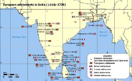 British and other European settlements in India