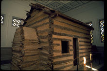 Symbolic log cabin at the Abraham Lincoln Birthplace National Historic Site
