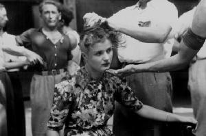young woman as punishment for wartime collaboration, August 29 1944