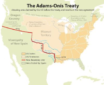 Map showing results of the Adams-Onís Treaty.