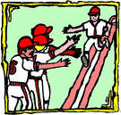 home run - a base hit on which the batter scores a run