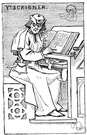 scribe - someone employed to make written copies of documents and manuscripts