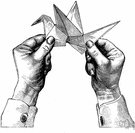 origami - the Japanese art of folding paper into shapes representing objects (e.g., flowers or birds)