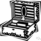 music box - produces music by means of pins on a revolving cylinder that strike the tuned teeth of a comb-like metal plate