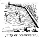 breakwater - a protective structure of stone or concrete