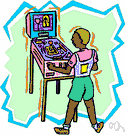 pinball game - a game played on a sloping board