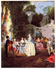 fête champêtre - a party of people assembled for social interaction out of doors
