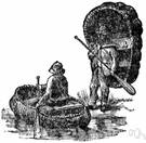 coracle - a small rounded boat made of hides stretched over a wicker frame