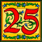 25 - the cardinal number that is the sum of twenty-four and one