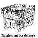 battlement - a rampart built around the top of a castle with regular gaps for firing arrows or guns