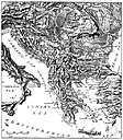 Balkans - a large peninsula in southeastern Europe containing the Balkan Mountain Range