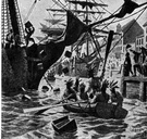Boston Tea Party - demonstration (1773) by citizens of Boston who (disguised as Indians) raided three British ships in Boston harbor and dumped hundreds of chests of tea into the harbor
