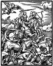 Four Horsemen - (New Testament) the four evils that will come at the end of the world: conquest rides a white horse