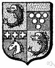 quartering - a coat of arms that occupies one quarter of an escutcheon