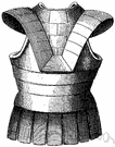 breastplate - armor plate that protects the chest