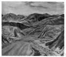 horseback - a narrow ridge of hills