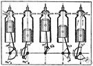 four-stroke engine - an internal-combustion engine in which an explosive mixture is drawn into the cylinder on the first stroke and is compressed and ignited on the second stroke