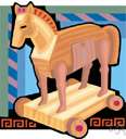 Wooden Horse - a large hollow wooden figure of a horse (filled with Greek soldiers) left by the Greeks outside Troy during the Trojan War