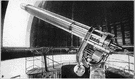 refracting telescope - optical telescope that has a large convex lens that produces an image that is viewed through the eyepiece