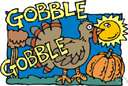 gobble - the characteristic sound made by a turkey cock