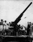 antiaircraft - artillery designed to shoot upward at airplanes