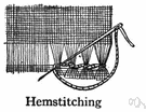 hemstitch - a stitch in which parallel threads are drawn and exposed threads are caught together in groups