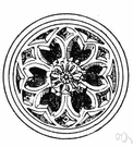 rosette - an ornament or pattern resembling a rose that is worn as a badge of office or as recognition of having won an honor