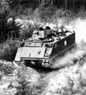 armoured personnel carrier - (military) an armored vehicle (usually equipped with caterpillar treads) that is used to transport infantry