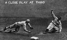 third - the base that must be touched third by a base runner in baseball