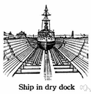 dry dock - a large dock from which water can be pumped out