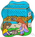 hutch - a cage (usually made of wood and wire mesh) for small animals